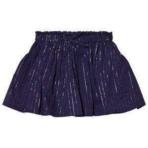 Emile et Ida Girls Skirts Blue Skirt with Glitter Stripes Marine