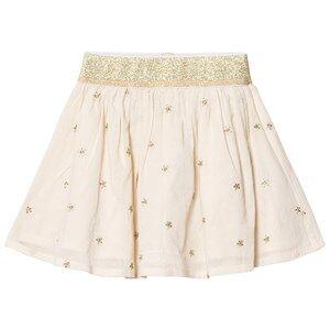 Emile et Ida Girls Skirts Beige Skirt with gold dots Ecru
