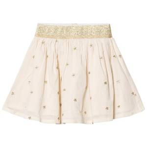 Emile et Ida Girls Skirts Beige Skirt with gold dots Ecru