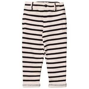 Emile et Ida Boys Bottoms Black Striped Sweatpants Ecru/Noir
