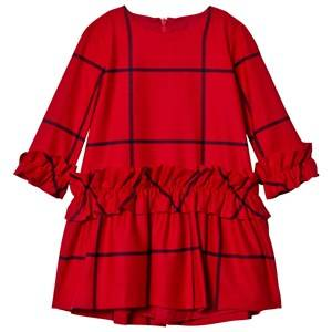 Image of Il Gufo Girls Dresses Red Red Frill Check Dress