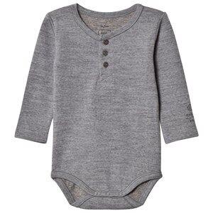 Noa Noa Miniature Boys All in ones Grey Basic Wool Baby Body Grey