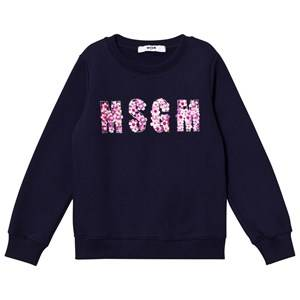 MSGM Girls Jumpers and knitwear Navy Navy Beaded Logo Sweatshirt