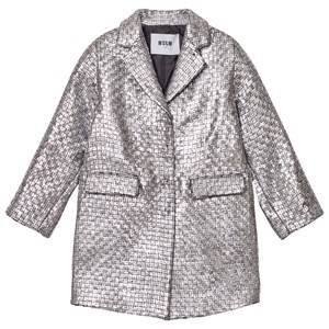 Image of MSGM Girls Coats and jackets Silver Silver Woven Coat