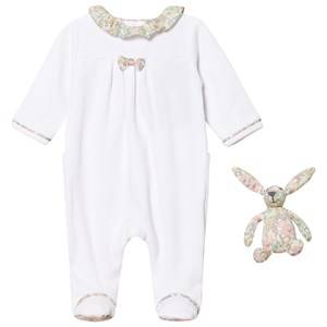 Image of Cyrillus Girls All in ones White White Footed Baby Body with Liberty Collar and Bunny