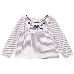 Cyrillus Girls Tops White Navy and Cream Stripe Long Sleeve Blouse