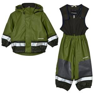 Didriksons Unisex Clothing sets Green Boardman Kids Rain Set Turtle Green
