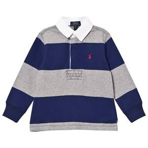 Ralph Lauren Boys Tops Navy Navy/Grey Stripe Long Sleeve Rugby Shirt