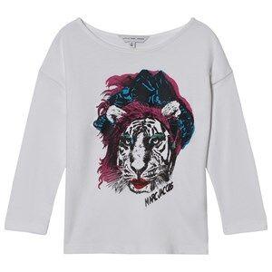 Little Marc Jacobs Girls Tops White White Tiger Print Tee