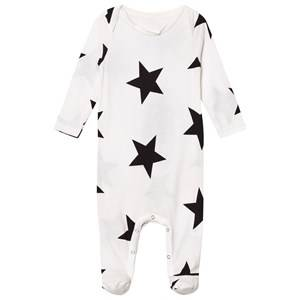 NUNUNU Unisex All in ones White Star Footed Baby Body White