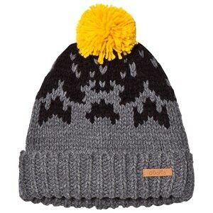 Barts Boys Headwear Grey Pom Pom Baigh Beanie Dark Grey/Yellow