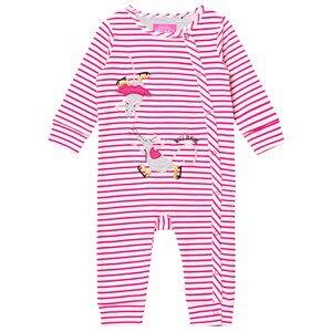 Tom Joule Girls All in ones Pink Pink Stripe Skating Mice Applique Footless Babygrow