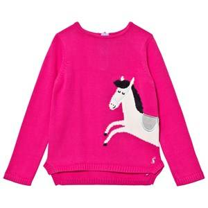Image of Tom Joule Girls Jumpers and knitwear Pink Pink Horse Intarsia Knit Jumper