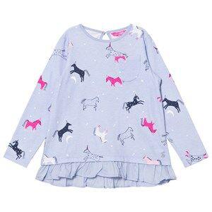 Tom Joule Girls Tops Blue Blue Dancing Unicorns Print Ruffle Hem Tee