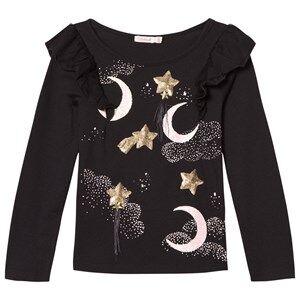 Billieblush Girls Tops Black Sequin Moon Stars Print Tee