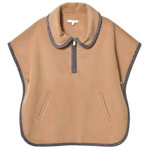 Image of Chloé Girls Coats and jackets Beige Tan Virgin Wool Collared Cape