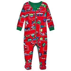 Hatley Boys All in ones Red Red Train Print Footed Baby Body