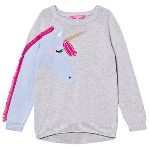 Image of Tom Joule Girls Jumpers and knitwear Grey Grey Unicorn with Fringe On Sleeve Knit Jumper