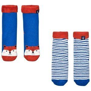 Tom Joule Boys Underwear Blue 2 Pack of Fox and Stripe Socks