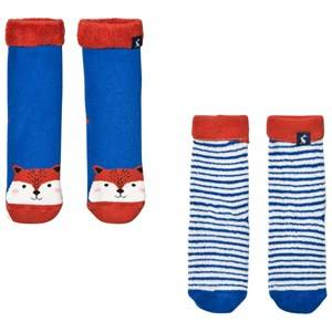 Tom Joule Boys Underwear Blue 2 Pack of Fox and Stripe Socks