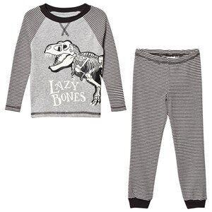Tom Joule Boys Nightwear Grey Dark Grey Stripe Dinosaur Pyjamas