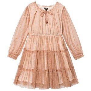 Image of Velveteen Girls Dresses Pink Corinne Tiered Dress Cinnamon