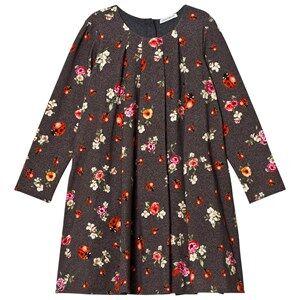 Dolce & Gabbana Girls Dresses Navy Grey Herringbone Floral and Lady Bird Print Interlock Dress