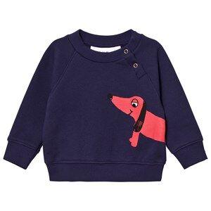 Mini Rodini Unisex Jumpers and knitwear Blue Dog Sweatshirt Navy