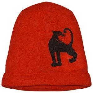 Mini Rodini Unisex Headwear Red Panther Wool Beanie Red