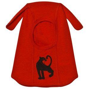 Mini Rodini Unisex Headwear Red Panther Wool Balaclava Red
