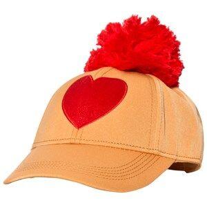 Mini Rodini Unisex Headwear Orange Heart Embroidery Cap Orange