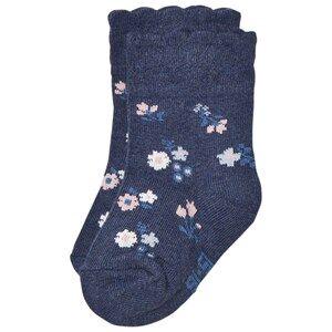 Melton Unisex Underwear Navy Floral Scallop Baby Socks