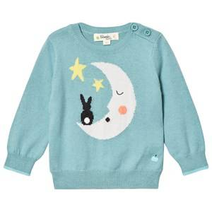 The Bonnie Mob Boys Jumpers and knitwear Blue Moon And Bunny Intarsia Sweater Pale Teal