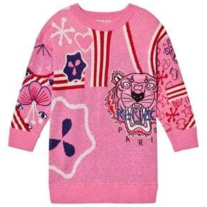 Kenzo Girls Dresses Pink Pink Knit Multi Tiger Motif Dress
