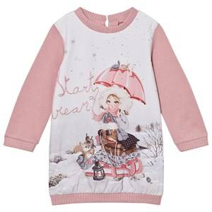 Mayoral Girls Dresses Pink Pink Snow Girl Print Sweat Dress