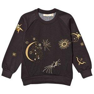 Soft Gallery Girls Jumpers and knitwear Black Babs Sweatshirt Peat Galaxy Emb.