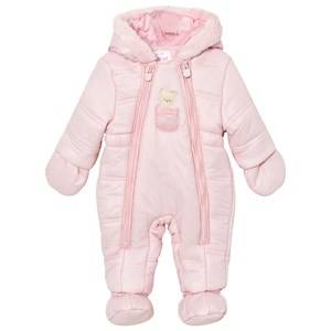 Image of Mayoral Girls All in ones Pink Pink Bear Hooded Snowsuit with Detachable Mittens and Booties
