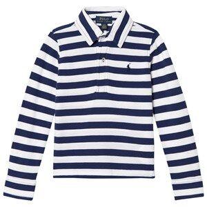 Ralph Lauren Boys Tops White White/Navy Long Sleeve Polo Shirt