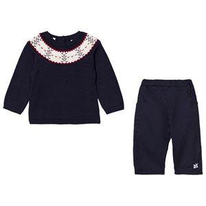 Emile et Rose Boys Clothing sets Navy Lars Navy Fairisle Top and Pants Set