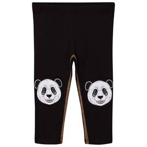 Filemon Kid Unisex Bottoms Black Leggings Printed Knees Jet Black