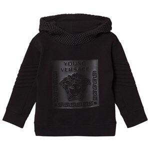Young Versace Boys Jumpers and knitwear Black Black Rubberised Medusa Print Hoodie