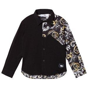 Young Versace Boys Tops Navy Black Baroque Print Shirt