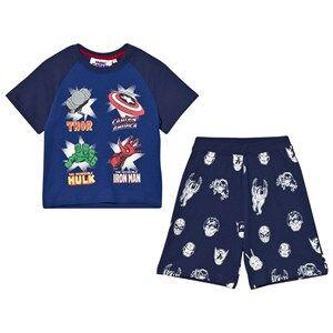 Fabric Flavours Boys Nightwear Navy Navy Marvel Heroes Icons Pyjamas