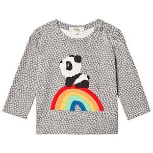 The Bonnie Mob Unisex Tops Grey Rainbow Panda Applique Tee Hash Tag Grey