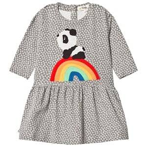 Image of The Bonnie Mob Girls Dresses Grey Rainbow Panda Applique Dress Hash Tag Grey