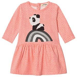 Image of The Bonnie Mob Girls Dresses Pink Rainbow Panda Applique Dress Hash Tag Sorbet
