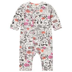 Image of The Bonnie Mob Girls All in ones Pink Panda Print Kimono One-Piece Pink