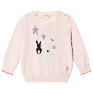 The Bonnie Mob Girls Jumpers and knitwear Pink Moon And Bunny Intarsia Sweater Pale Pink