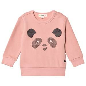 The Bonnie Mob Girls Jumpers and knitwear Pink Cross Stitch Panda Sweatshirt Powder