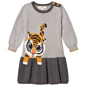 The Bonnie Mob Girls Dresses Grey Tiger Intarsia Dress Grey